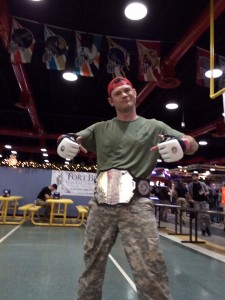 kyle with his championship belt from an outstanding showing at the combatives tournament.